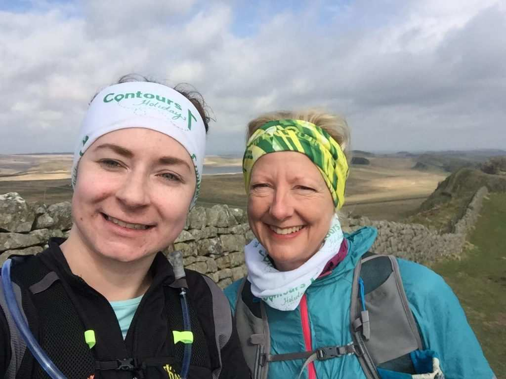 Smiling runners on the Hadrian's Wall Path short running holiday