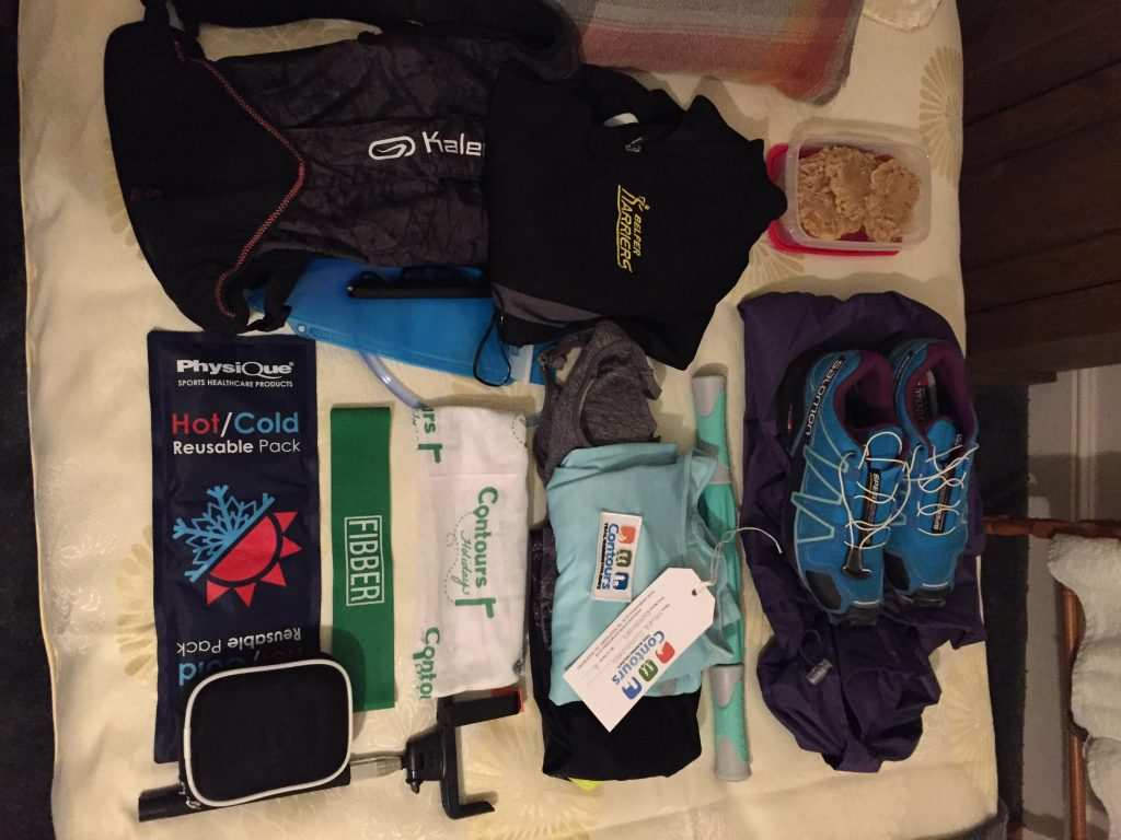 Contours Running Holidays kit: tour pack, guidebook, map and bag